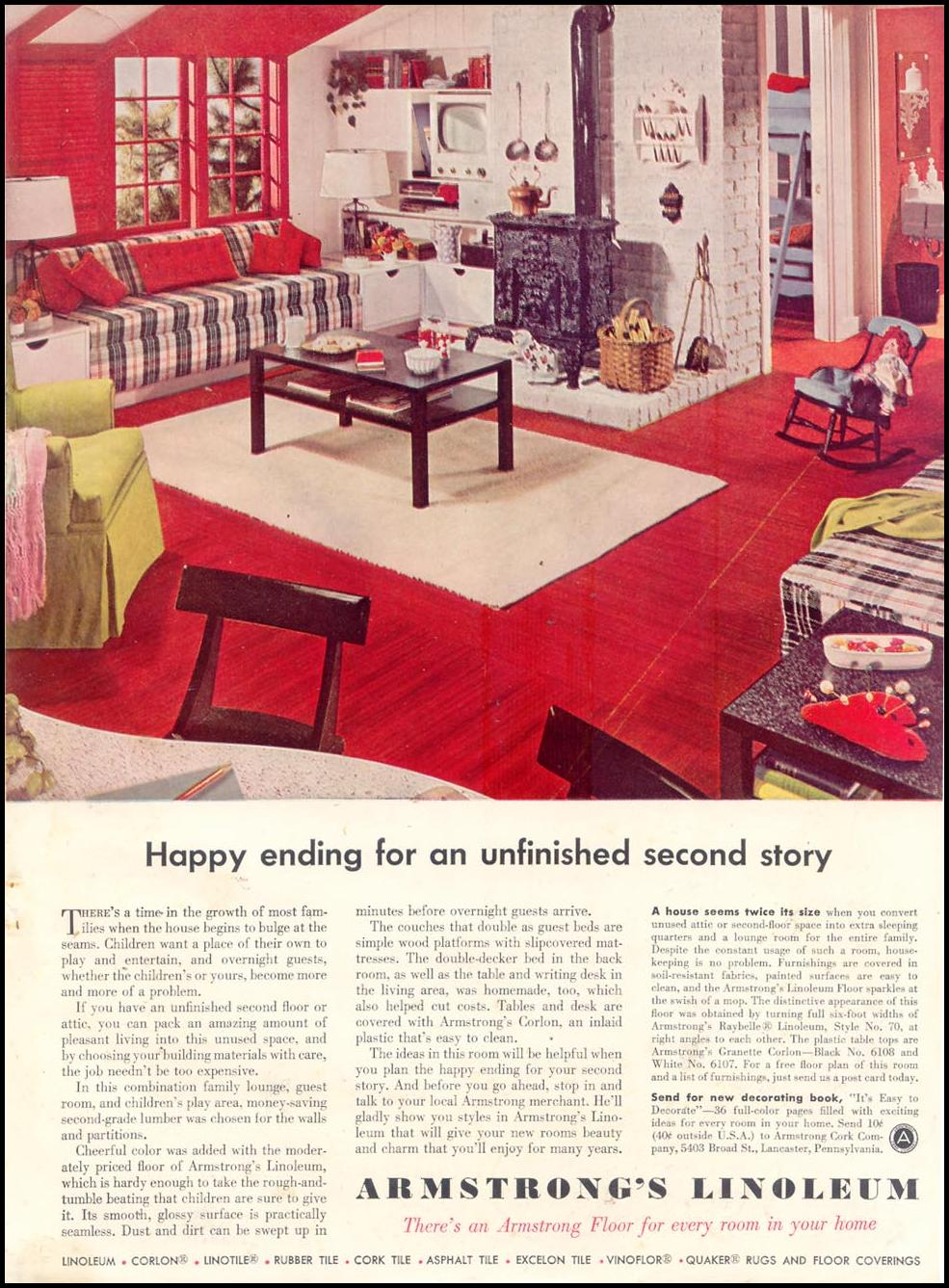 ARMSTRONG LINOLEUM FLOORS WOMAN'S DAY 03/01/1954 INSIDE BACK