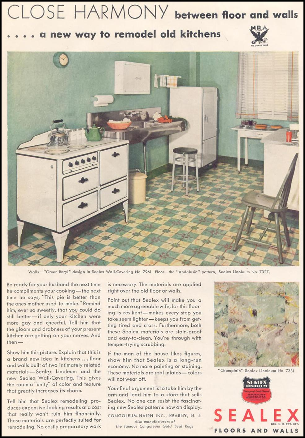 SEALEX LINOLEUM WALLS GOOD HOUSEKEEPING 11/01/1933