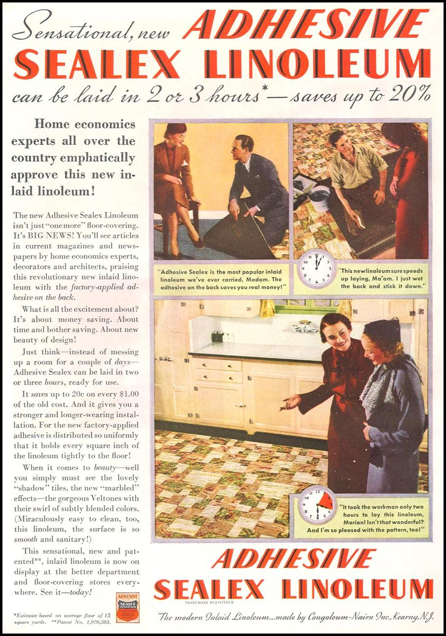 ADHESIVE SEALEX LINOLEUM GOOD HOUSEKEEPING 04/01/1936 p. 150