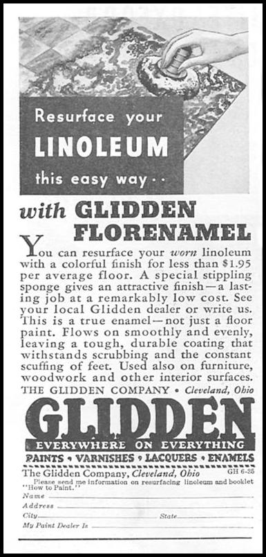 GLIDDEN FLORENAMEL GOOD HOUSEKEEPING 06/01/1935 p. 208