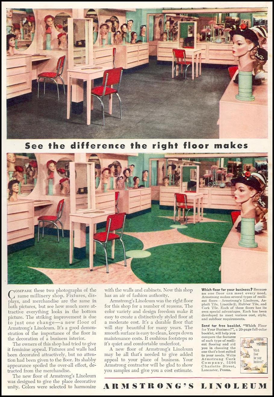 ARMSTRONG LINOLEUM FLOORS NEWSWEEK 06/11/1951 INSIDE FRONT