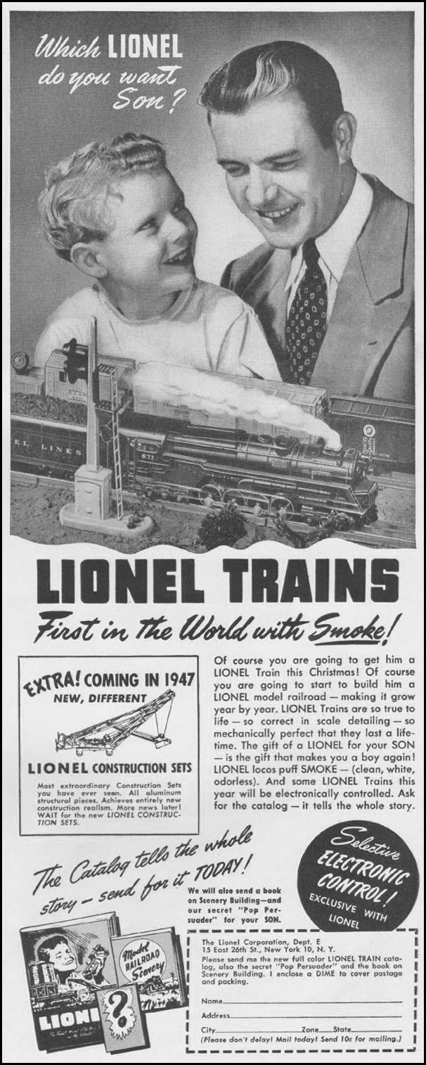 LIONEL MODEL TRAINS LIFE 11/25/1946 p. 67