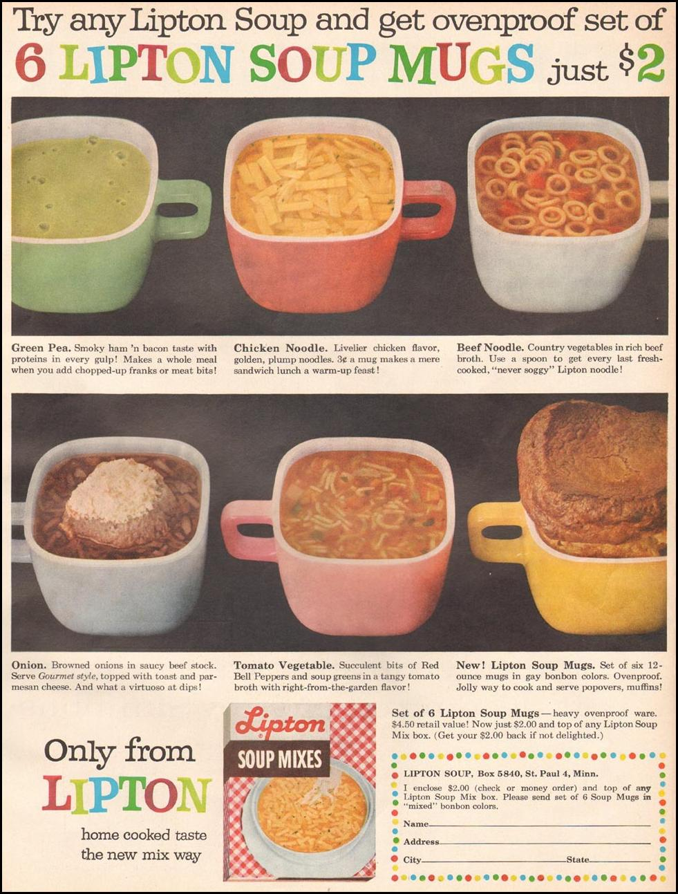 LIPTON SOUP MIXES BETTER HOMES AND GARDENS 03/01/1960 p. 25