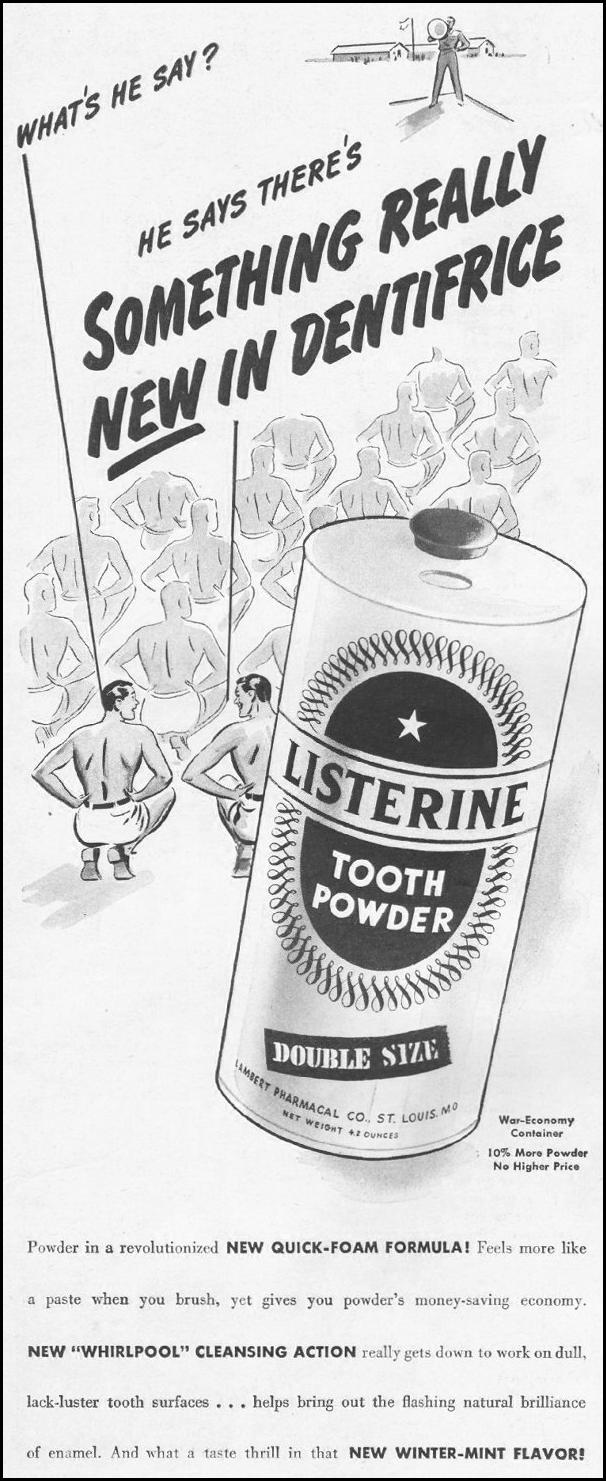 LISTERINE TOOTH POWDER LIFE 10/25/1943 p. 4