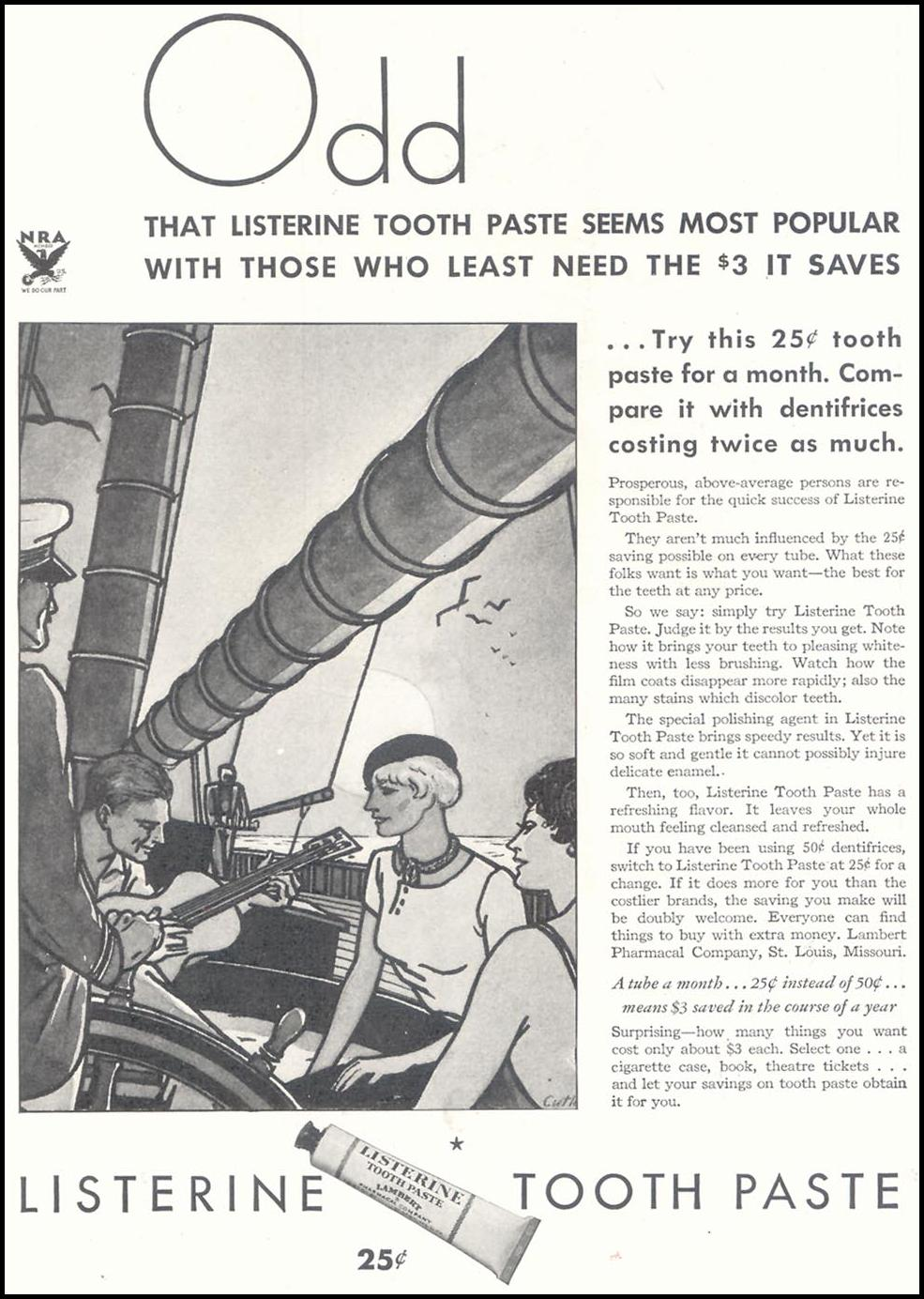 LISTERINE TOOTHPASTE GOOD HOUSEKEEPING 11/01/1933 p. 103