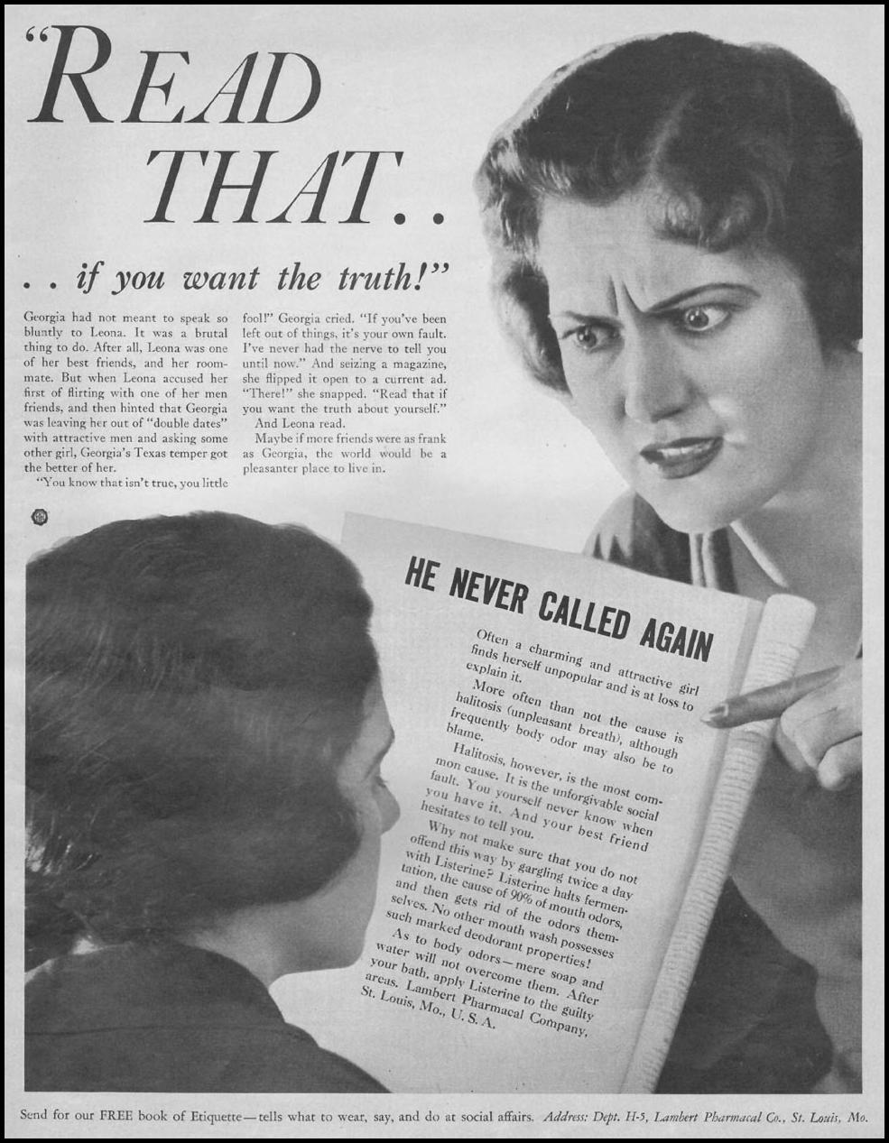 LISTERINE THE HOME MAGAZINE 05/01/1932 INSIDE BACK