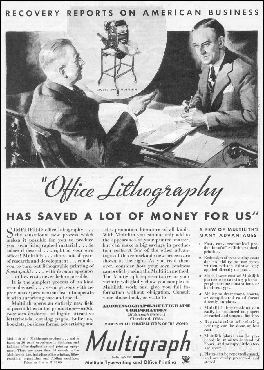 MULTIGRAPH OFFICE LITHOGRAPHY NEWSWEEK 05/04/1935 p. 27