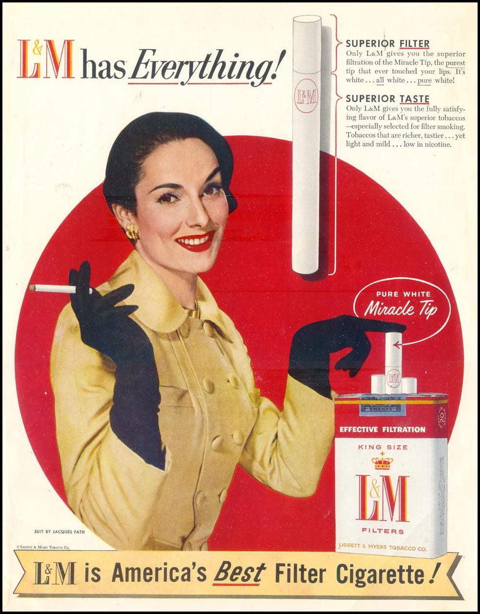 L & M CIGARETTES SATURDAY EVENING POST 09/10/1955 INSIDE BACK