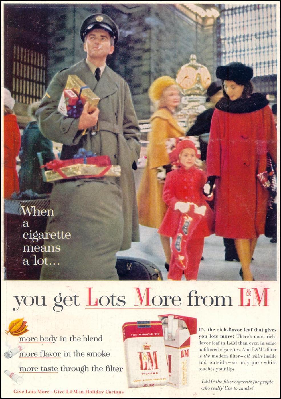 L & M CIGARETTES TIME 12/07/1962 BACK COVER