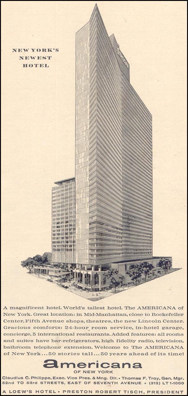 LOEW'S AMERICANA HOTEL TIME 12/07/1962 p. 71