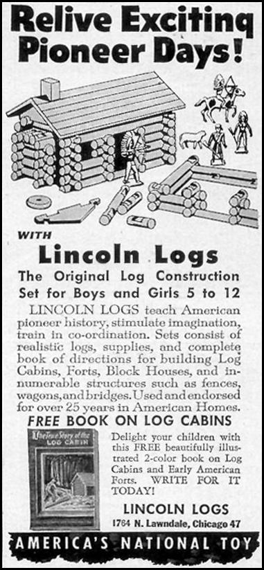 LINCOLN LOGS WOMAN'S DAY 11/01/1948 p. 117