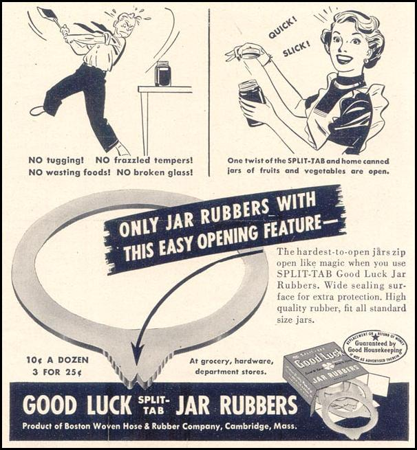 GOOD LUCK JAR RUBBERS GOOD HOUSEKEEPING 07/01/1949 p. 189
