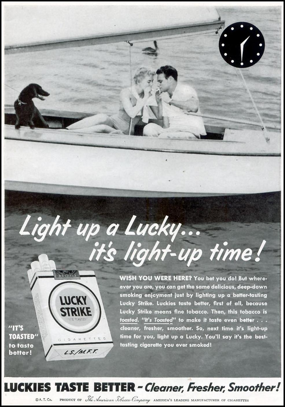 LUCKY STRIKE CIGARETTES WOMAN'S DAY 07/01/1955 p. 7