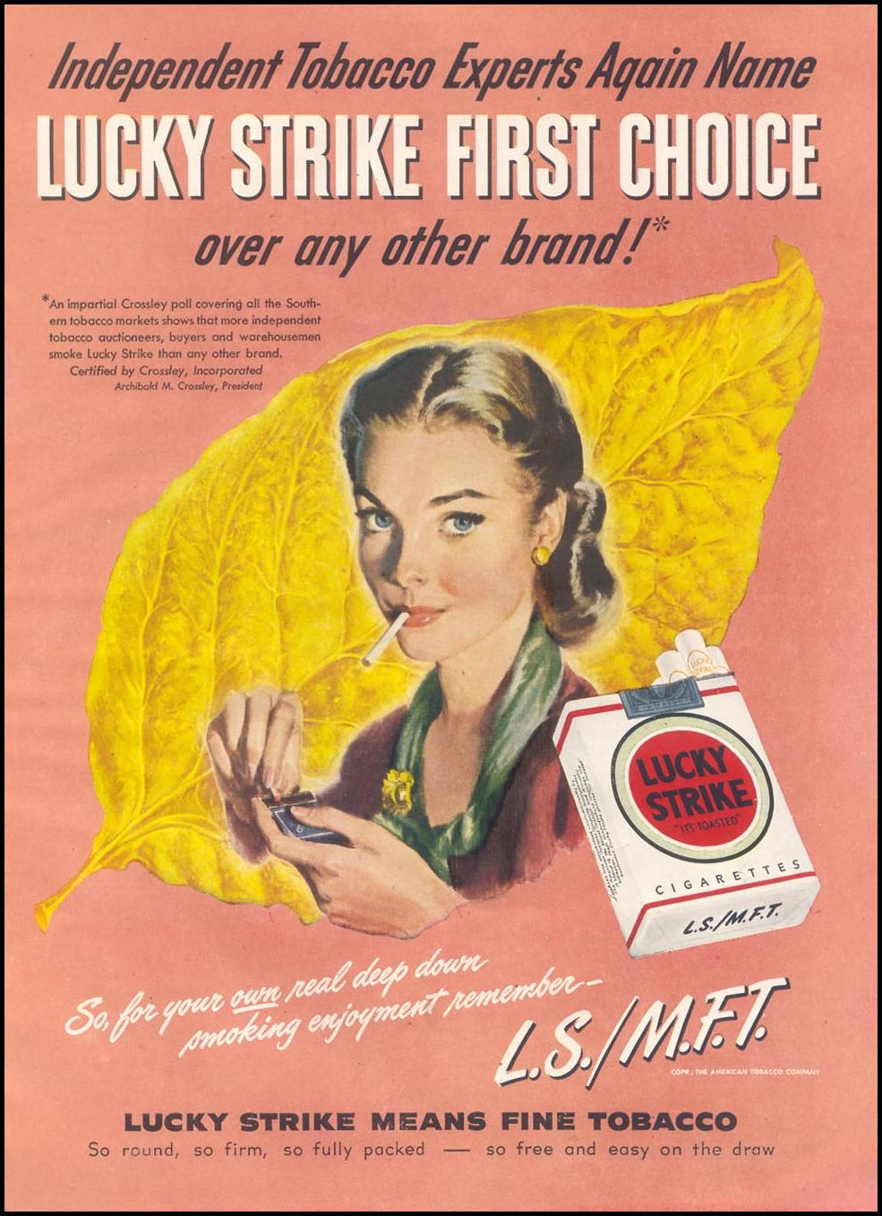 LUCKY STRIKE CIGARETTES GOOD HOUSEKEEPING 07/01/1948 p. 137