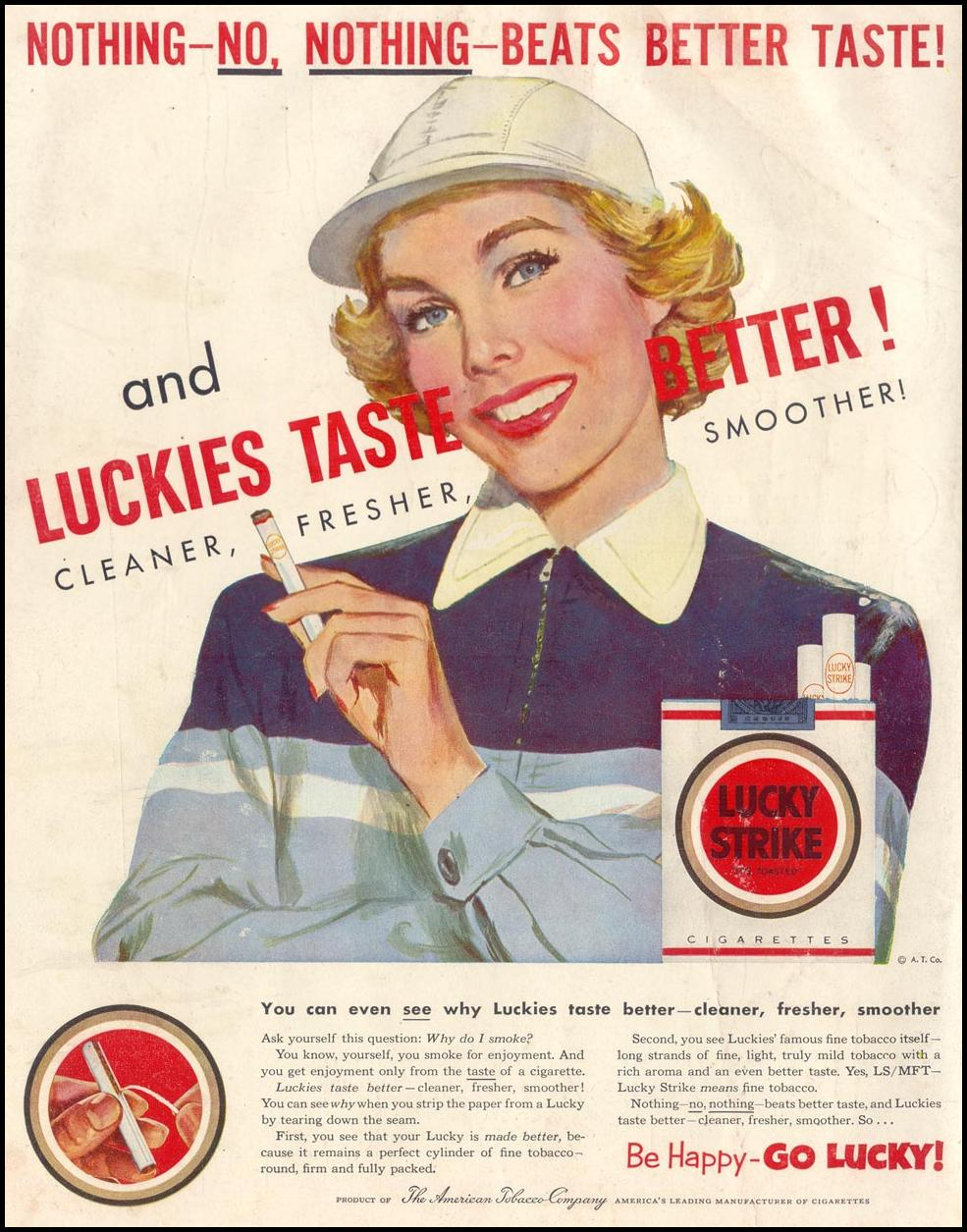 LUCKY STRIKE CIGARETTES LIFE 01/19/1953 BACK COVER