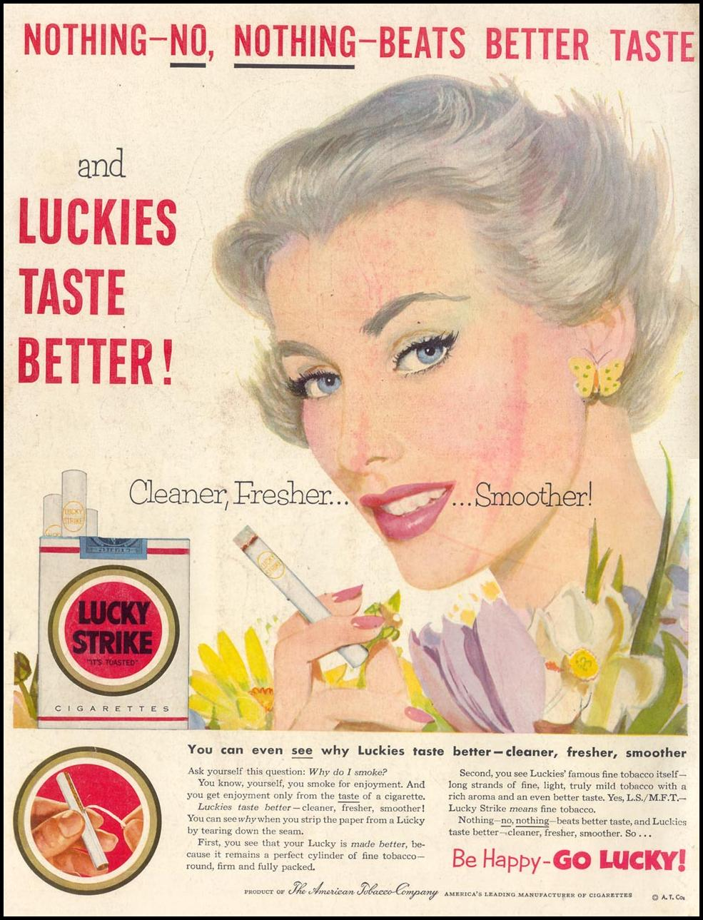 LUCKY STRIKE CIGARETTES LIFE 04/13/1953 BACK COVER