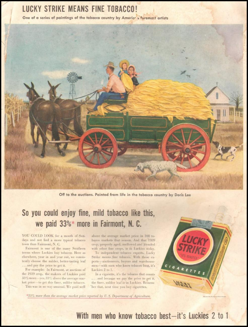 LUCKY STRIKE CIGARETTES LIFE 06/22/1942 BACK COVER