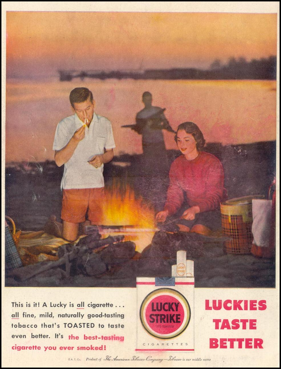 LUCKY STRIKE CIGARETTES LIFE 07/01/1957 BACK COVER