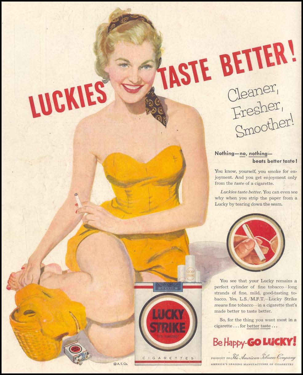 LUCKY STRIKE CIGARETTES LIFE 07/06/1953 BACK COVER