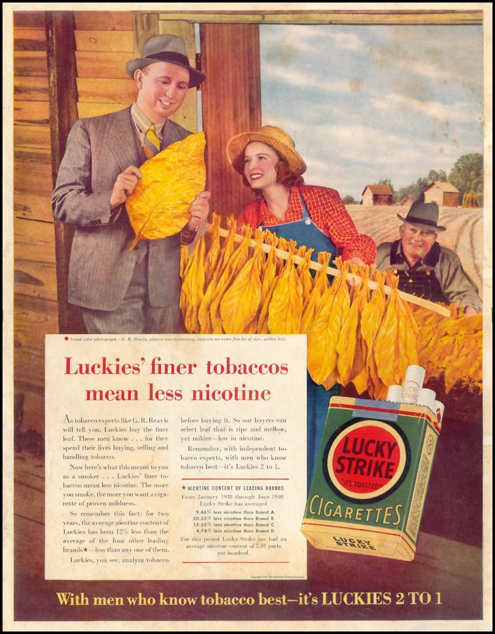 LUCKY STRIKE CIGARETTES LIFE 09/16/1940 BACK COVER
