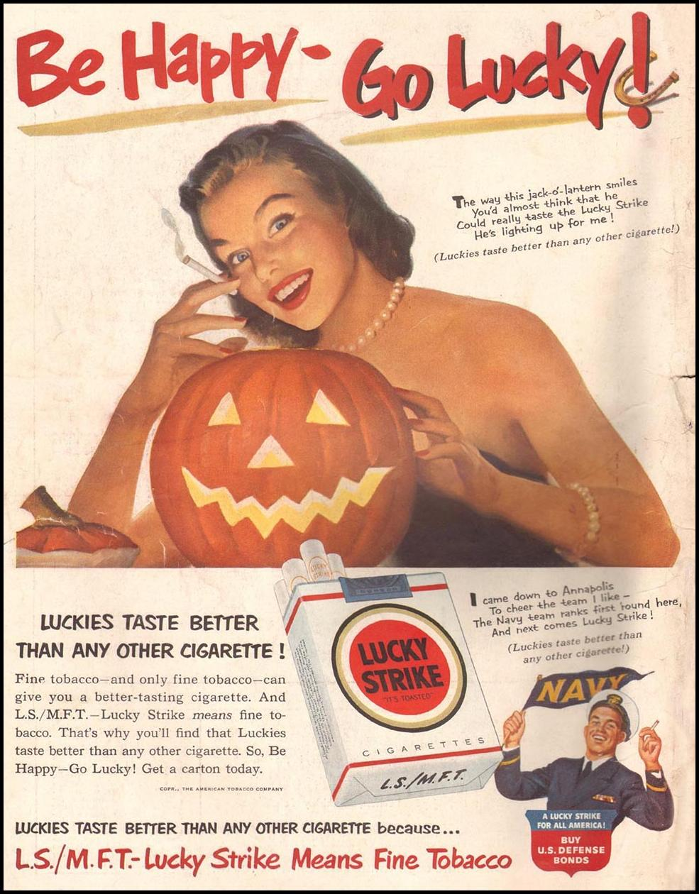 LUCKY STRIKE CIGARETTES LIFE 10/01/1951 BACK COVER