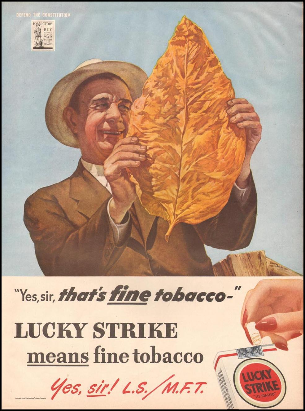 LUCKY STRIKE CIGARETTES LIFE 10/23/1944 p. 42