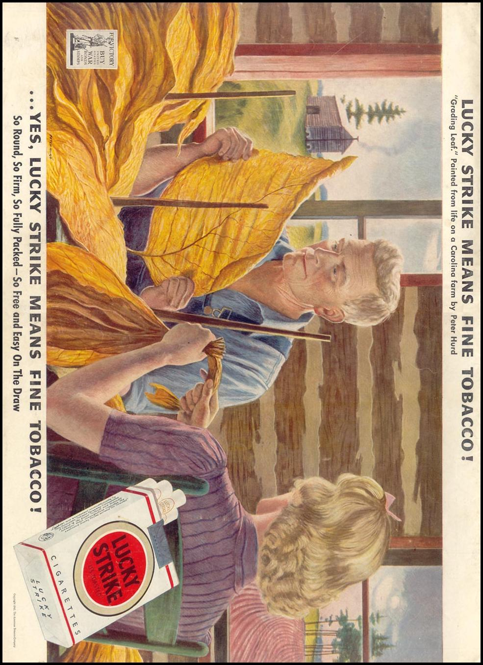 LUCKY STRIKE CIGARETTES LIFE 11/08/1943 BACK COVER