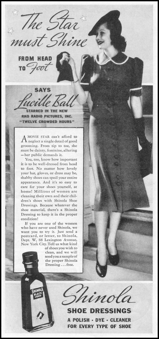 SHINOLA SHOE POLISH WOMAN'S DAY 04/01/1939 p. 40