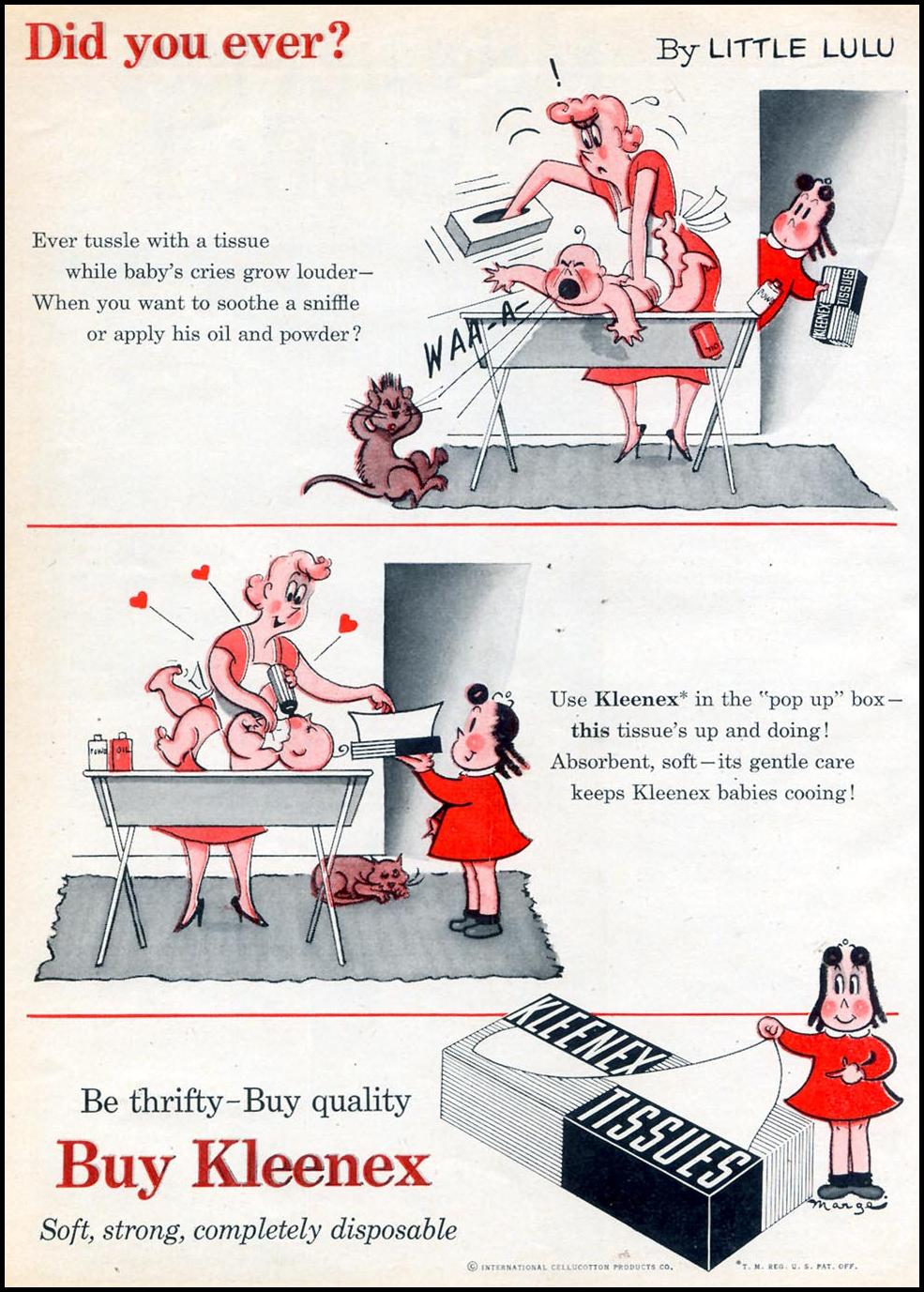 KLEENEX TISSUES WOMAN'S DAY 10/01/1954 p. 148