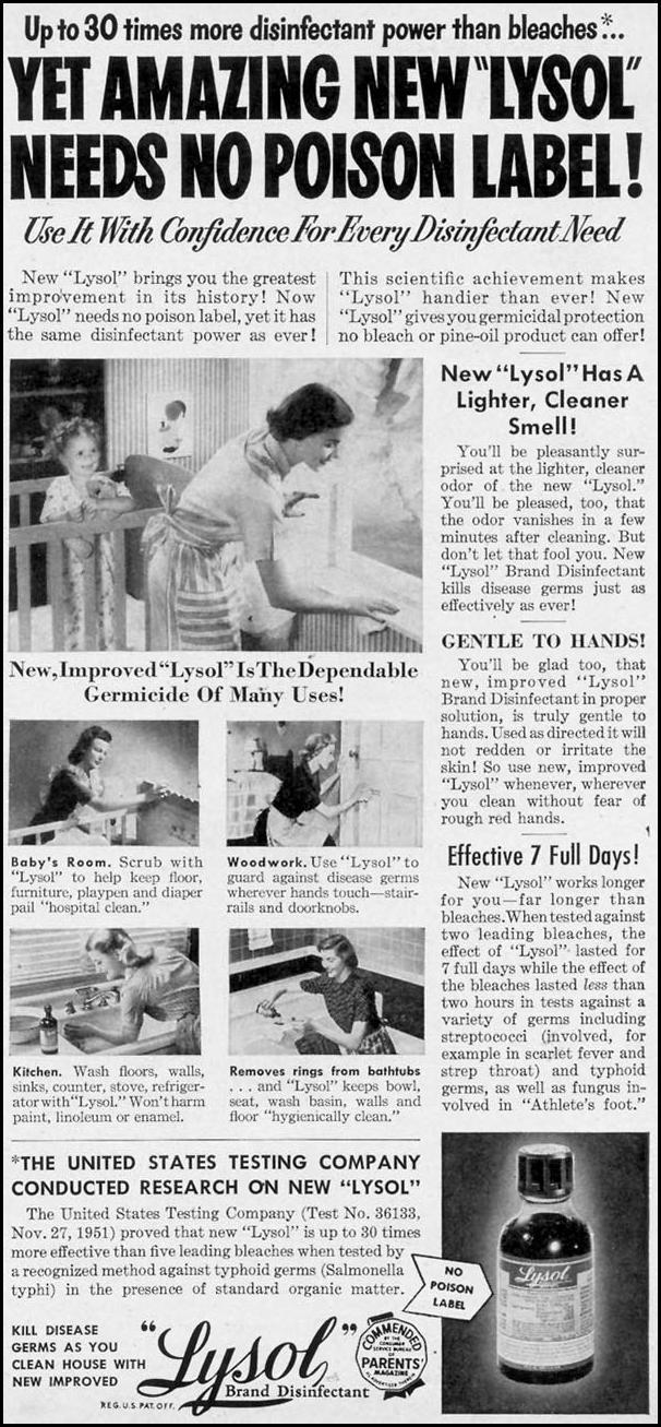 LYSOL DISINFECTANT WOMAN'S DAY 03/01/1954 p. 131