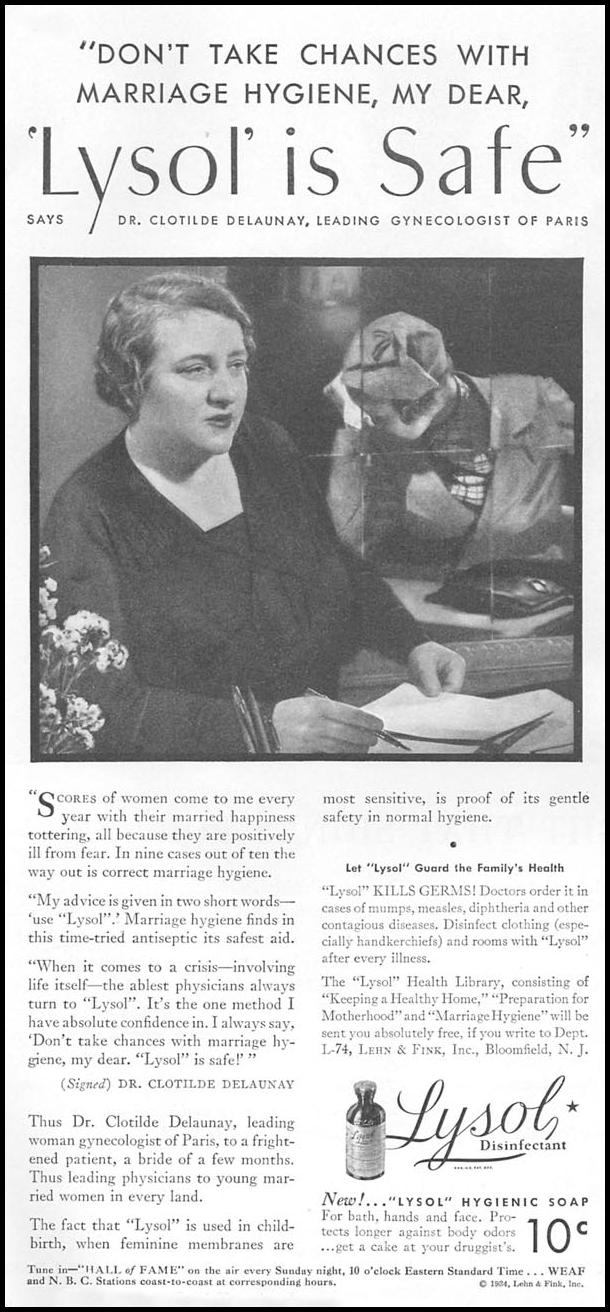LYSOL ANTISEPTIC GOOD HOUSEKEEPING 12/01/1934 p. 128