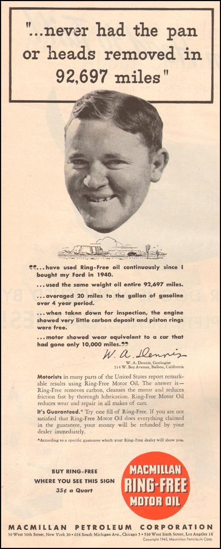 MACMILLAN RING-FREE MOTOR OIL LIFE 03/12/1945 p. 64