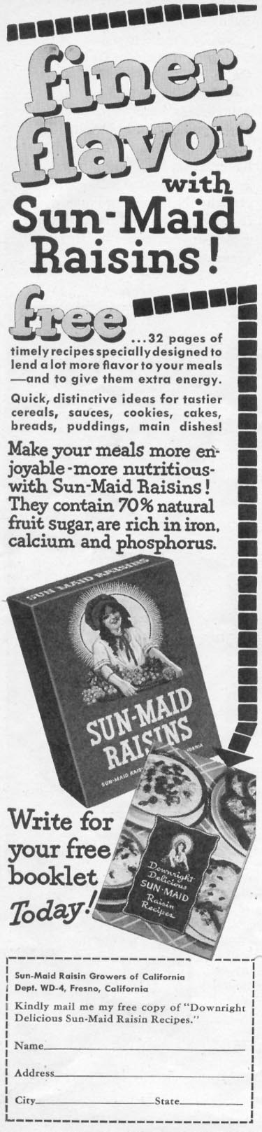 SUN-MAID RAISINS WOMAN'S DAY 05/01/1947 p. 70