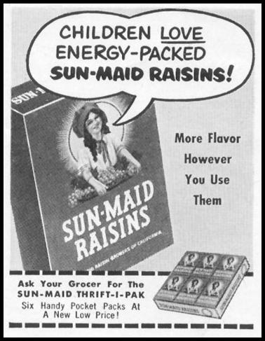 SUN-MAID RAISINS LIFE 01/21/1952 p. 98