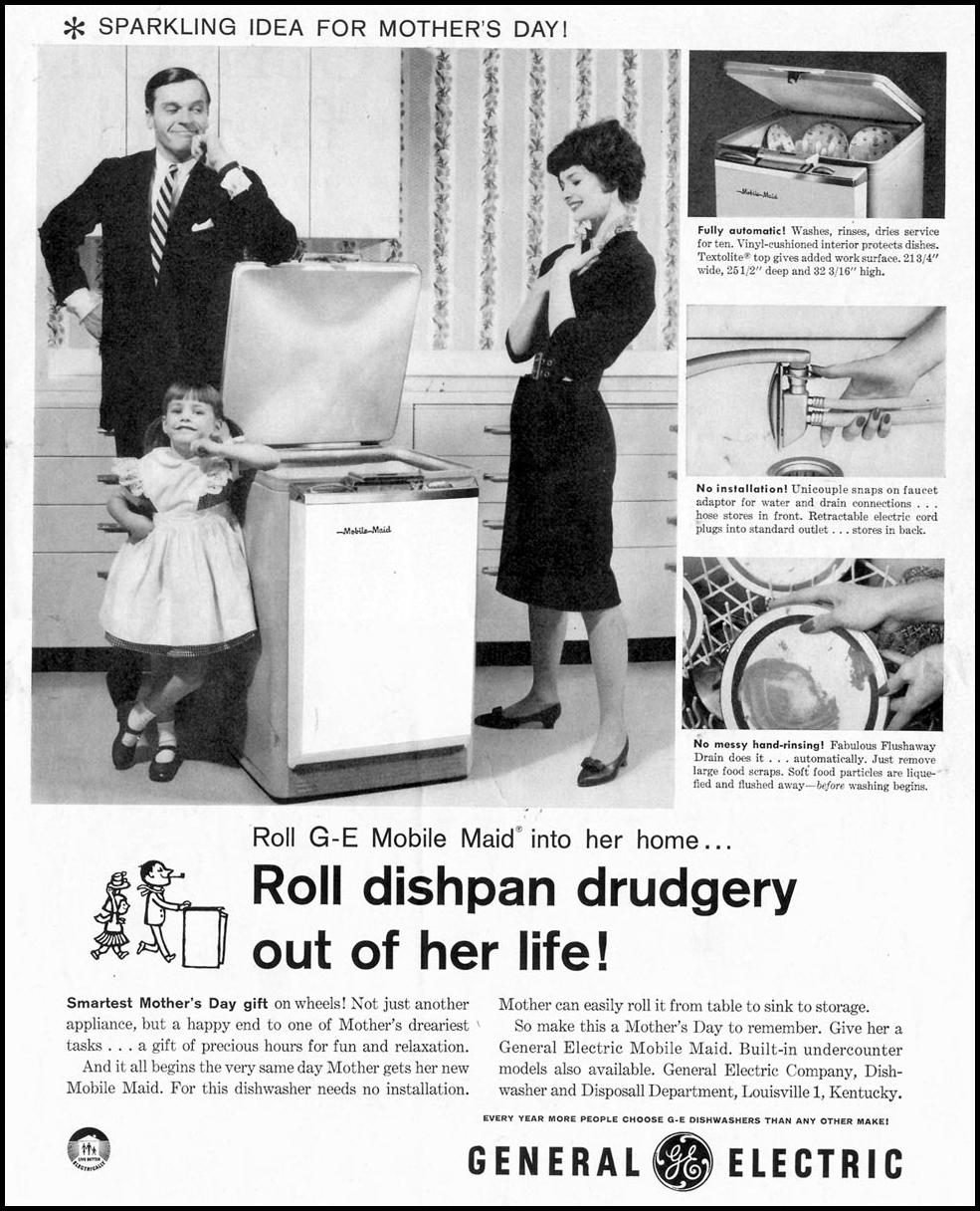 G. E. MOBILE MAID DISHWASHER SATURDAY EVENING POST 05/02/1959