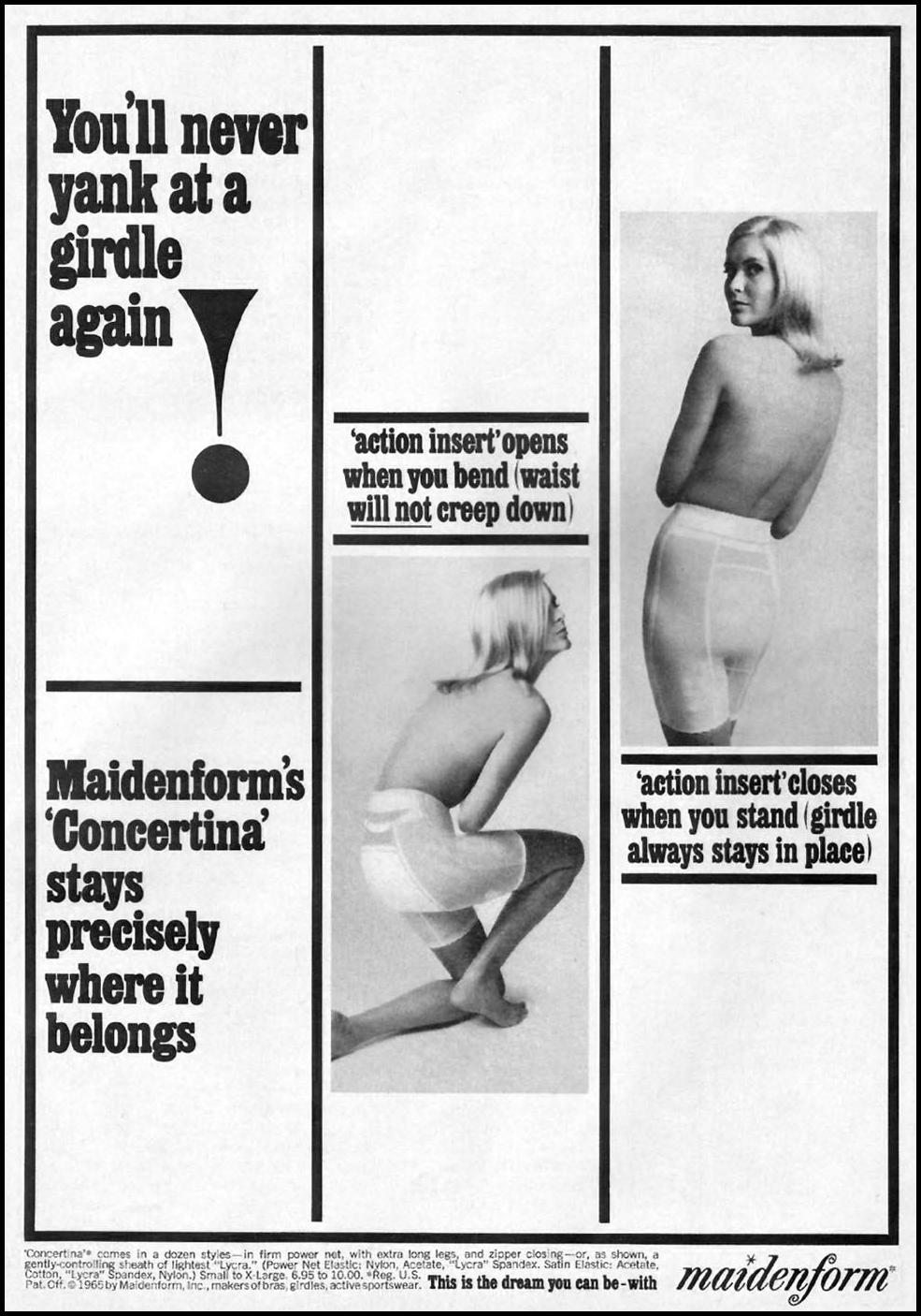 MAIDENFORM GIRDLES GOOD HOUSEKEEPING 10/01/1965 p. 19