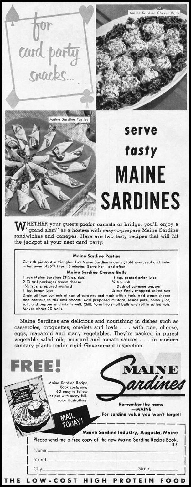MAINE SARDINES WOMAN'S HOME COMPANION 12/01/1952 p. 85