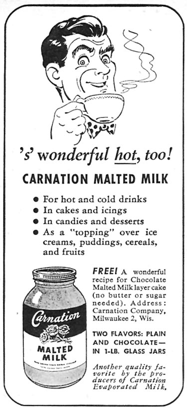 CARNATION MALTED MILK WOMAN'S DAY 04/01/1946 p. 78