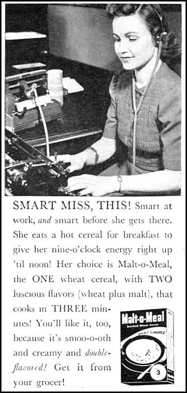 MALT-O-MEAL WOMAN'S DAY 11/01/1946 p. 100