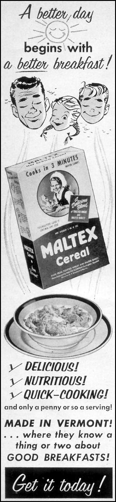 MALTEX CEREAL WOMAN'S DAY 10/01/1954 p. 184