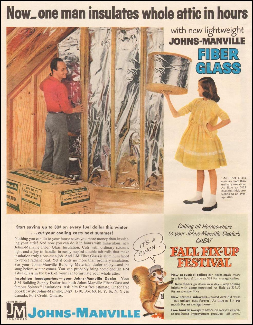 JOHNS-MANVILLE FIBER GLASS INSULATION LIFE 10/05/1959