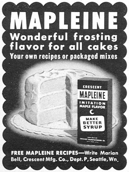 MAPLEINE IMITATION MAPLE FLAVOR WOMAN'S DAY 02/01/1954 p. 160