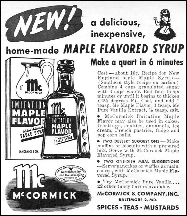 MCCORMICK IMITATION MAPLE FLAVOR WOMAN'S DAY 10/01/1946 p. 109