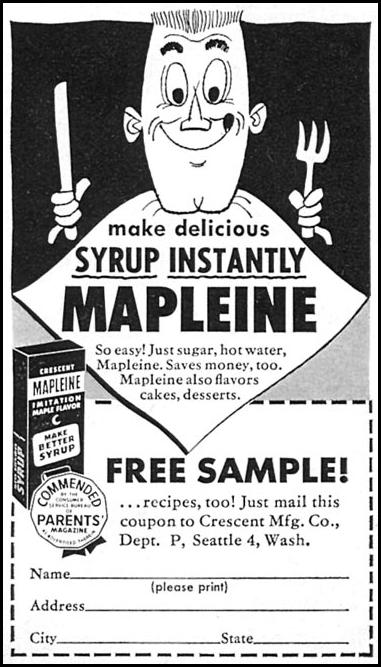 MAPLEINE IMITATION MAPLE FLAVOR WOMAN'S DAY 10/01/1956 p. 130