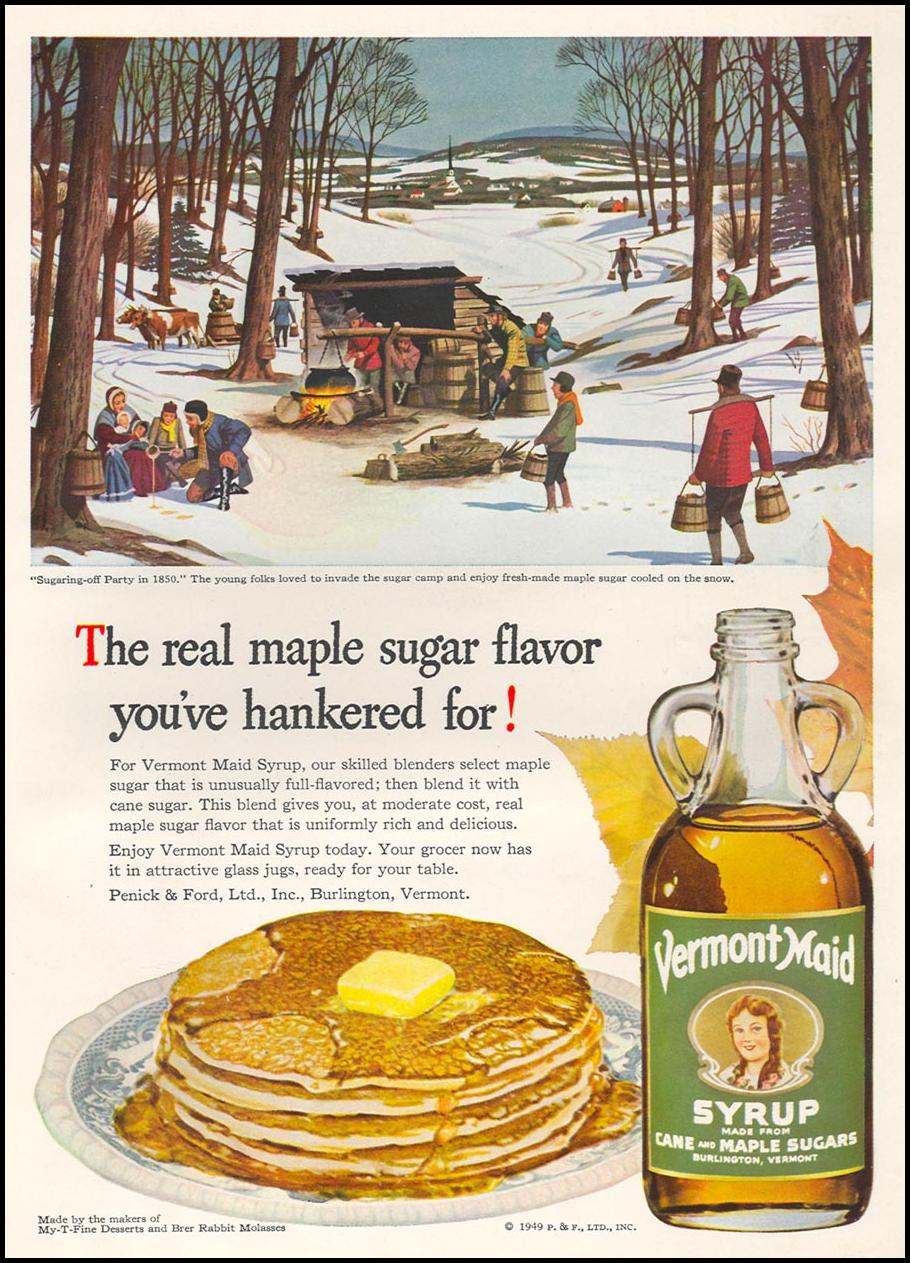VERMONT MAID SYRUP WOMAN'S DAY 12/01/1949 INSIDE BACK