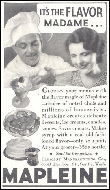 MAPLEINE IMITATION MAPLE FLAVOR GOOD HOUSEKEEPING 11/01/1933 p. 210