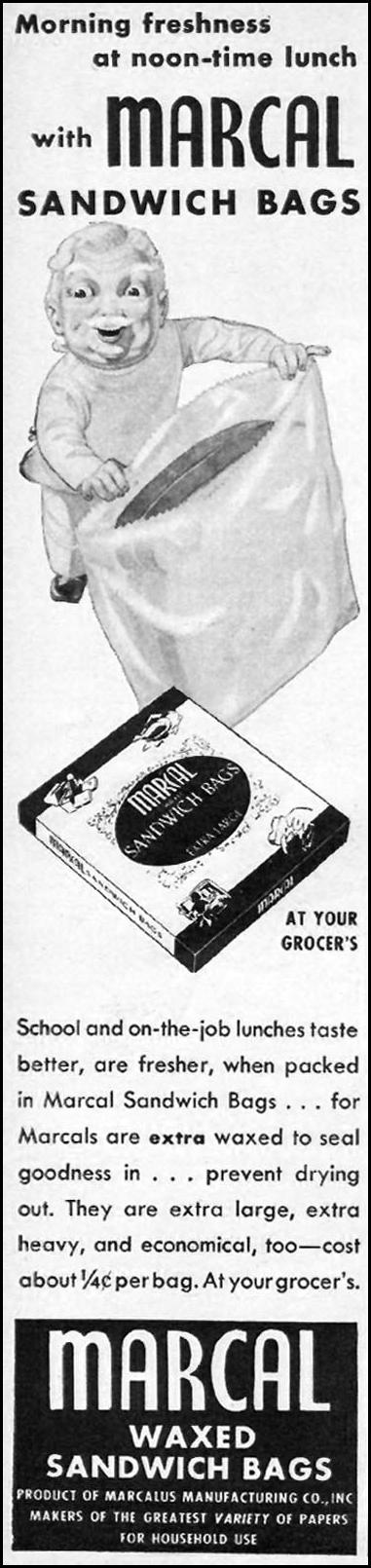 MARCAL WAXED SANDWICH BAGS WOMAN'S DAY 01/01/1947 p. 60