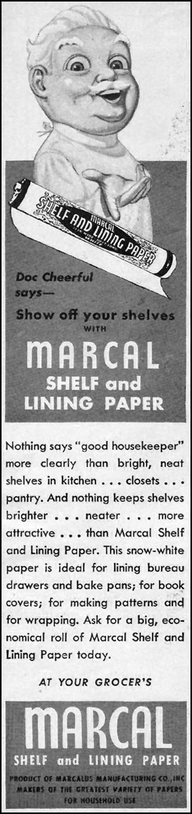 MARCAL SHELF AND LINING PAPER WOMAN'S DAY 06/01/1947 p. 96