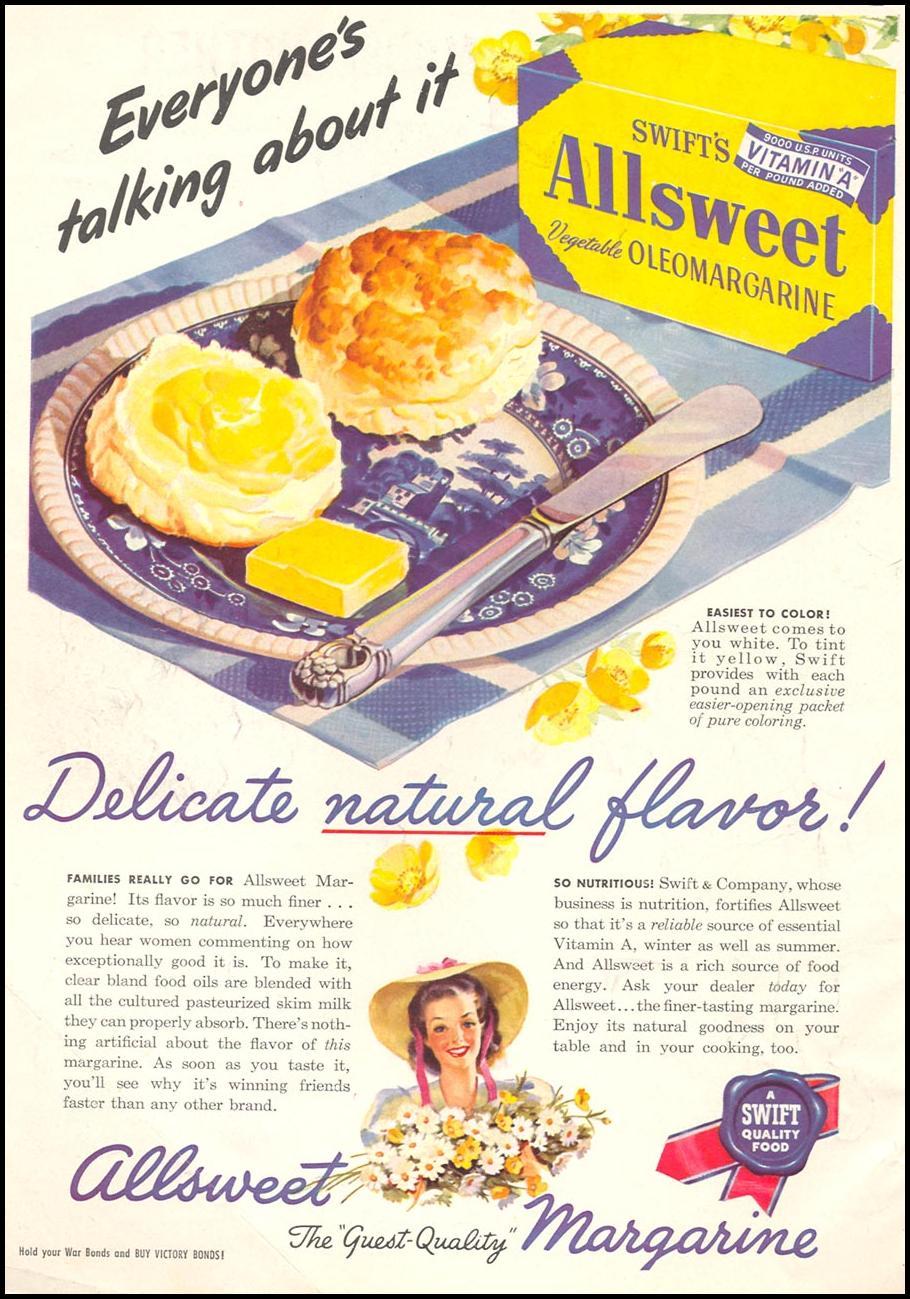 SWIFT'S ALLSWEET VEGETABLE MARGARINE WOMAN'S DAY 11/01/1945 INSIDE FRONT