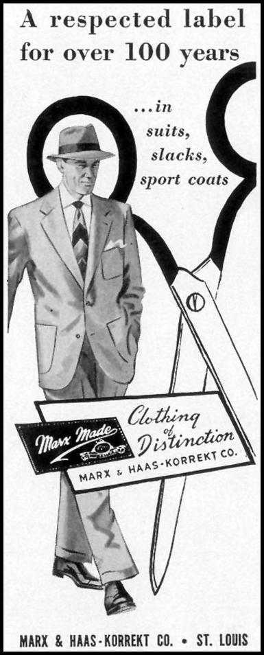 MARX MADE CLOTHING OF DISTINCTION LIFE 04/13/1953 p. 166